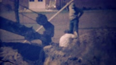 1948: Excavtor digger state construction company dirt hole. Stock Footage