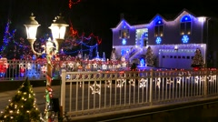 Christmas holiday lights, walking bridge Stock Footage