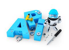 Robot with tools and application programming interface sign. Technology conce - stock illustration