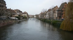 View on river and historic buildings in Strasbourg Stock Footage