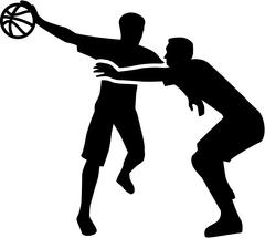 Basketball Player Fight in Action - stock illustration