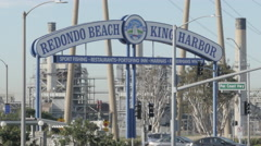 Close Up Shot of King Harbor Sign in Redondo Beach  Stock Footage