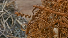 Metal rusty shavings texture mountain background Stock Footage