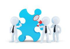 Team of business people and piece of a puzzle - stock illustration