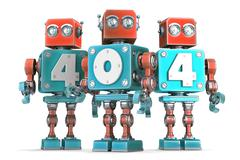 Stock Illustration of Group of vintage robots with 404 sign. Isolated. Contains clipping path