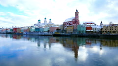 The riverside of Passau in Winter Stock Footage