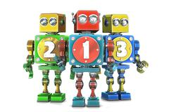 ?olorful 123 numbers sign on retro robots. Isolated. Contains clipping path - stock illustration