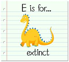 Flashcard letter E is for extinct Stock Illustration