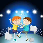 Two boys fighting on the ring - stock illustration