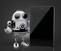 Robot with blank screen tablet computer. Contains clipping path of tablet scr - stock illustration