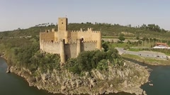 Aerial castle Almourol Stock Footage