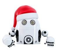 Robot Santa pointing in blank advertisement banner. Isolated. Stock Illustration