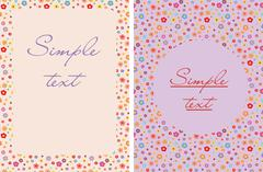 Happy birthday postcard, flower pattern, postcard Stock Illustration