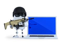 Armed robot with laptop. Techology security concept. Isolated Stock Illustration