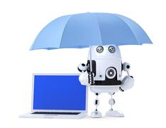 Android robot with laptop and umbrella. Security concept. Isolated on white. Stock Illustration