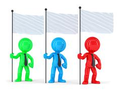Group of coloured businesspeople with flags. Isolated. Contains clipping path Stock Illustration