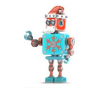 Robot Santa pointing at invisible object. Isolated. Contains clipping path - stock illustration