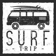 Surf trip concept. Vector Summer surfing retro badge. Beach surfer emblem , rv - stock illustration