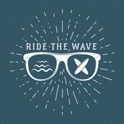 Vintage Surfing Graphics and Emblem for web design or print. Surfer, beach style - stock illustration
