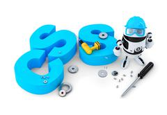 Robot with CSS sign. Technology concept. Isolated. Contains clipping path Stock Illustration