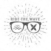 Vintage Surfing Graphics and Poster for web design or print. Surfer glasses - stock illustration
