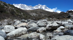 Mountain River, Clean Water, Background,mountain Ridge, Lhotse Stock Footage