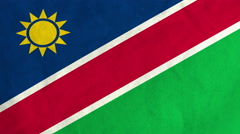 Namibian flag waving in the wind (full frame footage) Stock Footage