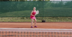4K Female Tennis Player Training Forehand And Backhand - stock footage