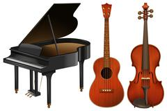 Musical instruments with piano and guitar Piirros