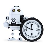 Robot with clock. Technology concept. Isolated. Contains clipping path Stock Illustration