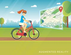 Young woman riding a bike and seeing bicycle path on the mobile augmented Stock Illustration