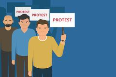 Demonstration and protest concept crowd of angry people with banners - stock illustration