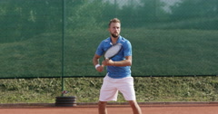 4K Professional Tennis Player Hitting The Ball With Precision Stock Footage