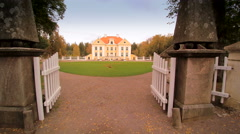 Getting inside the gate of the Palmse manor Stock Footage
