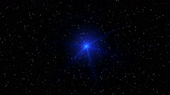 Stock Video Footage of motion of blue glowing star on a stellar backgrounds