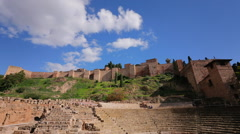 Malaga Alcazaba and Teatro Romano Time-Lapse A Stock Footage