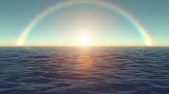 Stock Video Footage of motion up sun on rainbow sky backgrounds with flare
