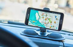 GPS app Waze. - stock photo