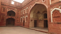 Architectural detail of the inside of the historical Red Fort of Agra, India Stock Footage