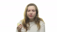 Fatty woman eating apple, seventh video - stock footage