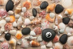 Pyramid yinyang stands on seashells and stones Stock Photos