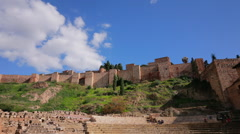 Malaga Alcazaba and Teatro Romano Time-Lapse B Stock Footage