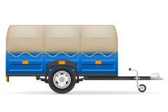 car trailer for the transportation of goods illustration - stock illustration