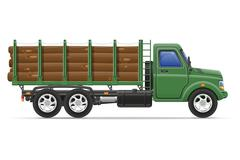 Stock Illustration of cargo truck delivery and transportation of construction materials concept ill