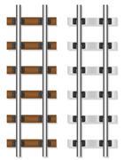 railway rails wooden and concrete sleepers illustration - stock illustration