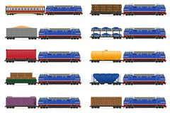 Stock Illustration of set icons railway train with locomotive and wagons illustration