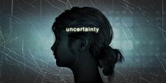 Woman Facing Uncertainty - stock illustration