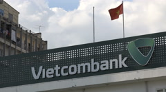 Office and logo of the Vietcombank, commerce, business, major bank in Vietnam Stock Footage