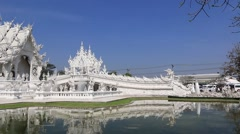 Beautiful White Temple in Chaing Rai, Thailand. Stock Footage