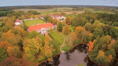 The Sagadi manor and the lake in front Stock Footage